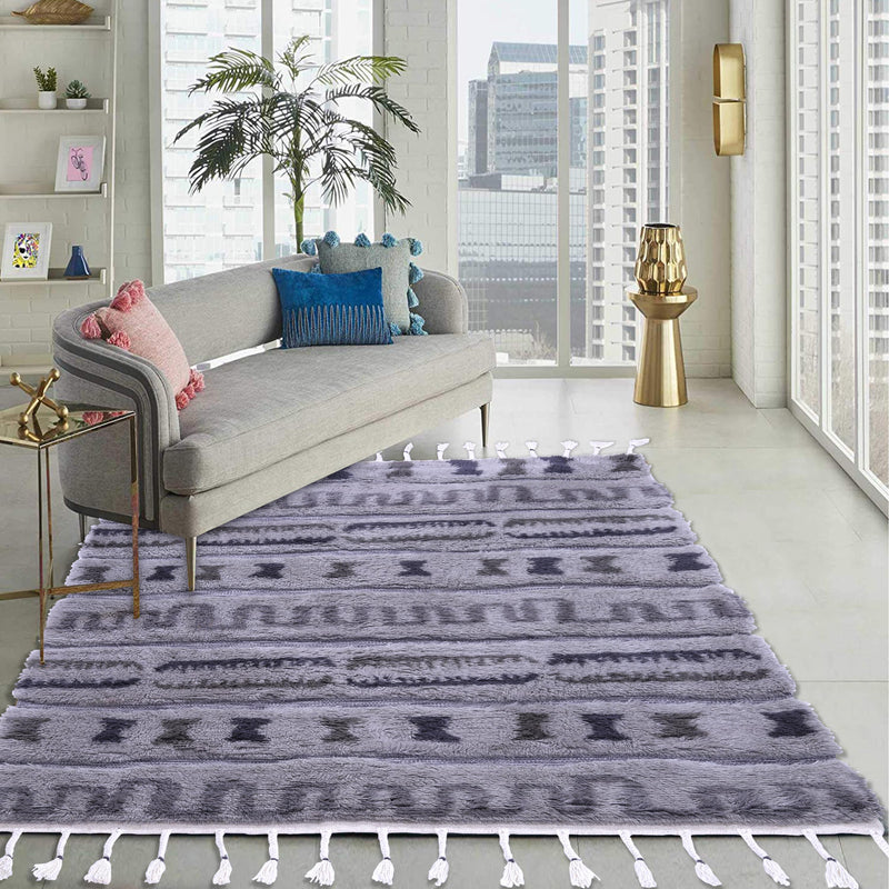 Beige and Dark Grey, Shaggy PEQURA Rug