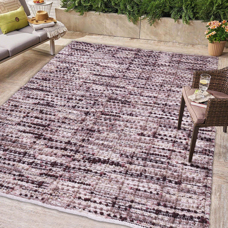 Maroon and Beige, Abstract Pattern PEQURA Rug