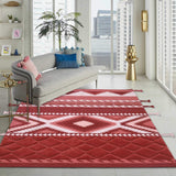 Red, white, and Peach, Hand-Tufted PEQURA Rug