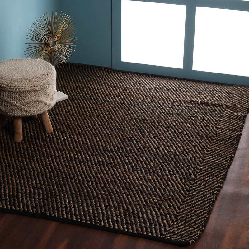 Black, Striped, Jute, Hand-woven PEQURA Rugs