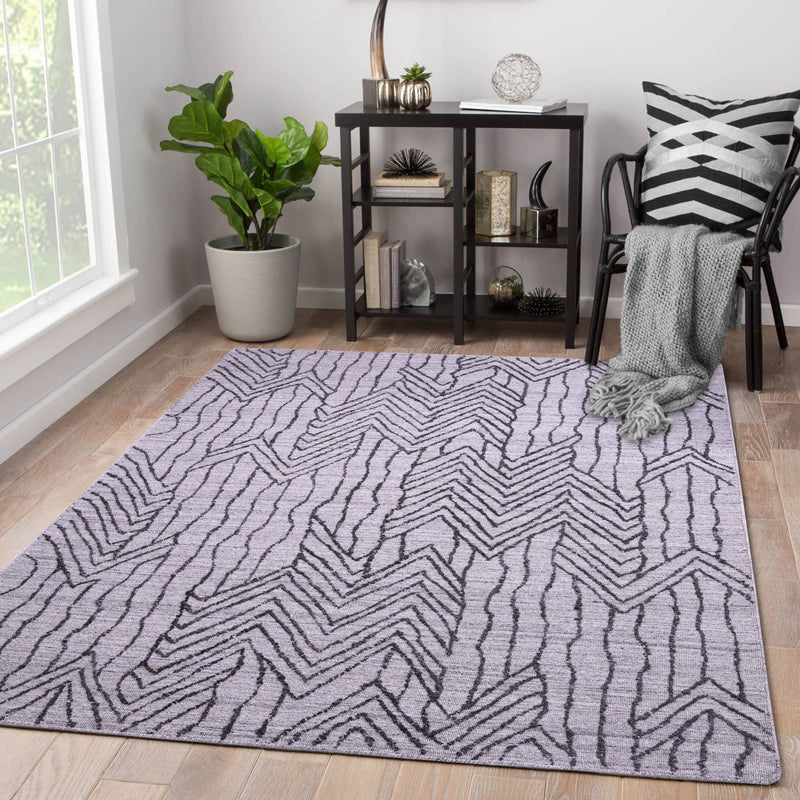 Natural Grey, Geometric Pattern PEQURA Rug