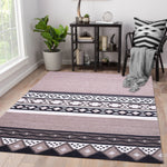 Black, Brown, and White, Geometric Pattern PEQURA Rug