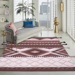 Beige and Brown, Geometric Pattern, PEQURA Rug