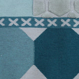 Duck Egg And Teal Color, stylish, Geometric Pattern, Hand-Tufted, Wool Rug