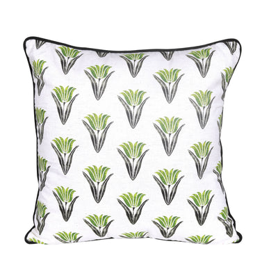 Floral Printed Cotton Green/White Cushion Cover