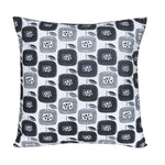 Black/White Floral Printed Cotton Cushion Cover
