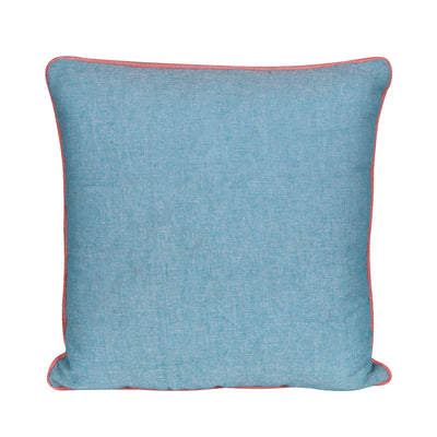 Plain Vintage Teal Blue Cotton Cushion Cover - Set of 2 Pcs