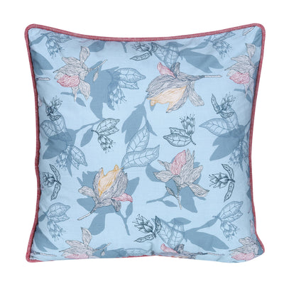 Traditional Aqua Blue Floral Printed Cushion Cover