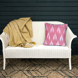 Traditional Ikat Square Pink & White Cushion Cover