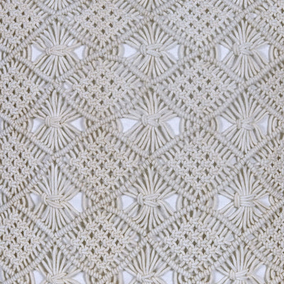 Plain White Handmade Macrame Cushion Cover