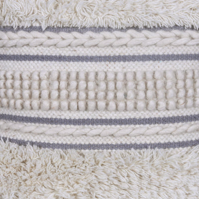 Geometric Embroidery Liner Off White Cushion Cover
