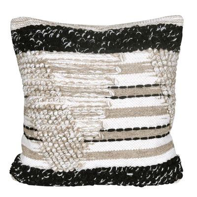 Geometric Wool & Cotton Patterned Cushion Cover