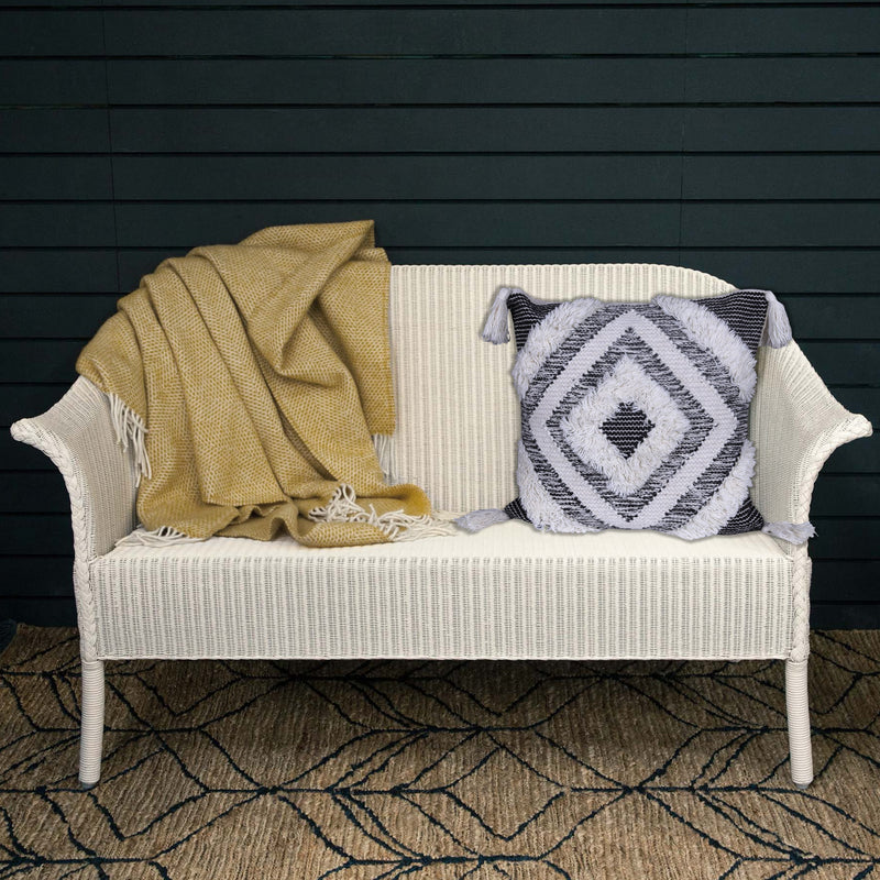 Traditionally Designed White Geometric Cushion Cover