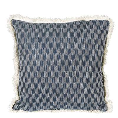 Ikat Blue/Black Handmade Patterned Cushion Cover