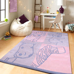PEQURA Wild Animal Cartoon Hand Tufted Wool Kids Carpet - Rectangle