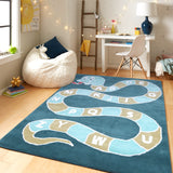 PEQURA Snake Ladder Hand Tufted Wool Kids Carpet  - Rectangle