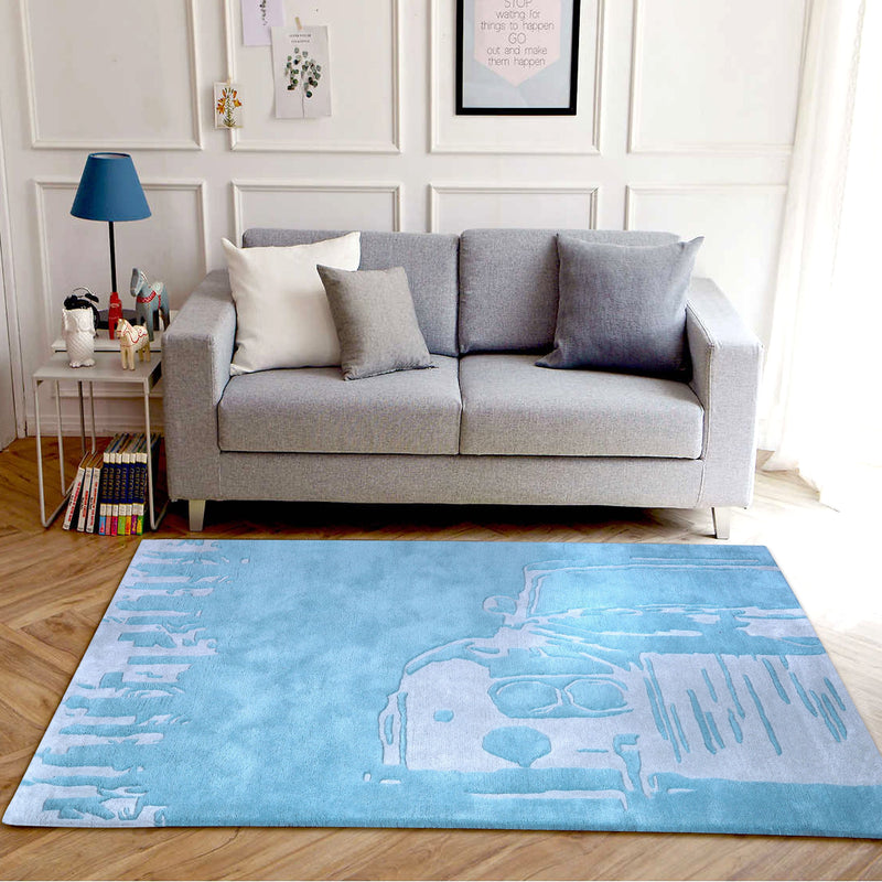 PEQURA Wonder the Car Hand Tufted Wool Kids Carpet - Rectangle