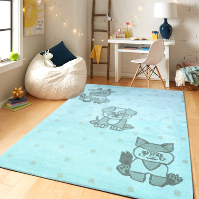 PEQURA Pet Animal Cartoon Hand Tufted Wool Kids Carpet - Rectangle