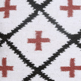 White/Red Patterned Geometric Cushion Cover
