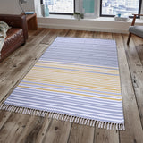 PEQURA Dark Multicolor Cotton Floor Covering Daniel Rug/Runner/Door Mat