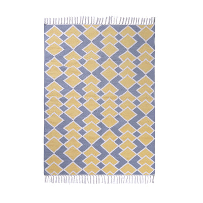 PEQURA Yellow/Grey and Natural color Cotton Rug/Runner/Door Mat