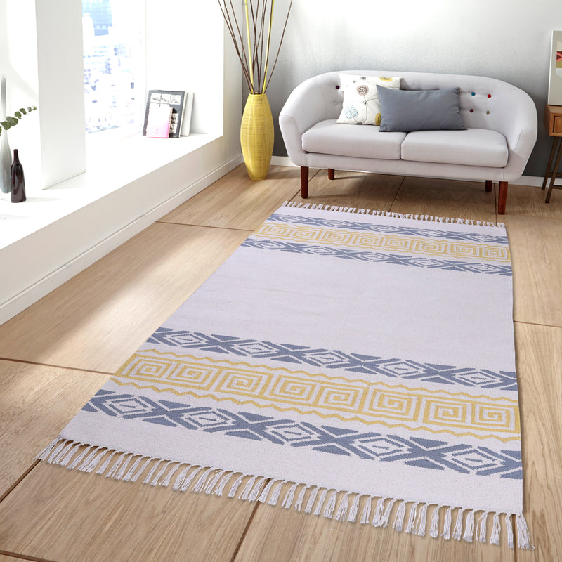 PEQURA Yellow/Gray and Natural Color Cotton Floor Covering Akbar Rug/Runner/Door Mat