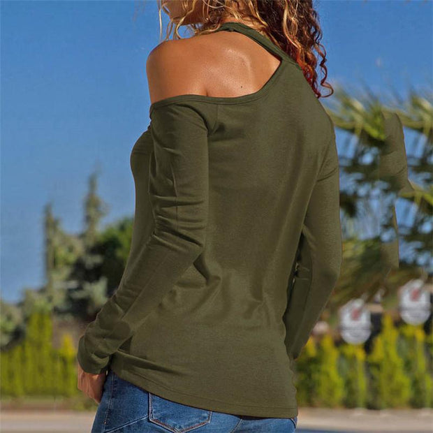 Women's Solid Color Shoulder Long Sleeve T-Shirt