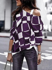 Printed  Long Sleeve Off Shoulder Plaid Shirt