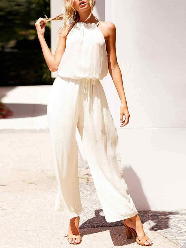 Solid Color Sleeveless Loose Jumpsuits