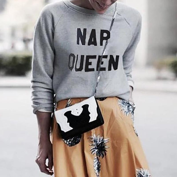 Casual Loose Round Neck Pullover Sweatshirt