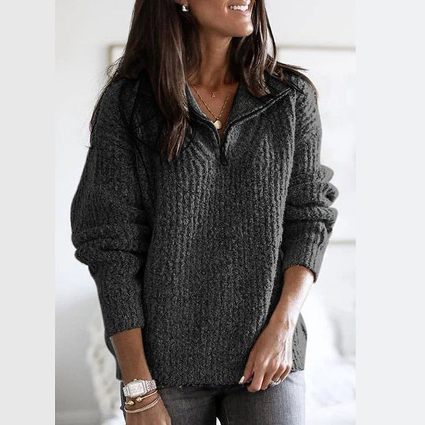 Zip pullover long sleeve sweater