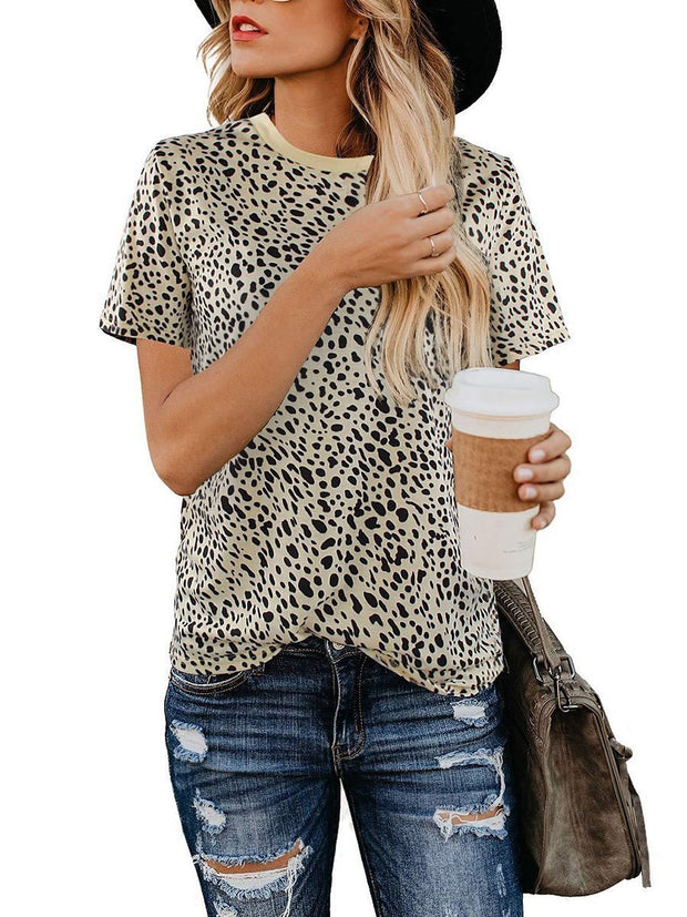 Fashion Leopard Printing Short Sleeve Round Neck T-shirt