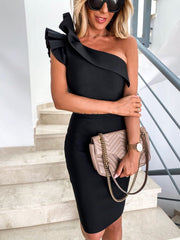 One Shoulder Ruffle Neck Bodycon Dress