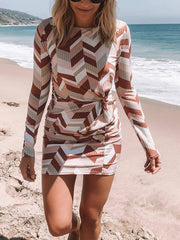Geometric Print Twist Bodycon Dress