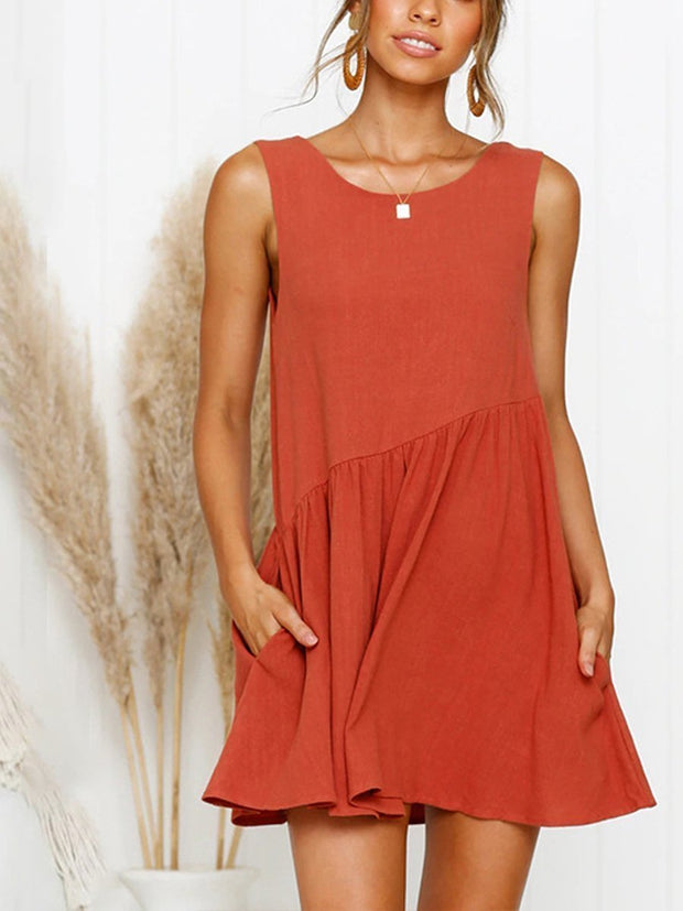 Fashion Sleeveless Solid Color Cotton and Linen Casual Dress