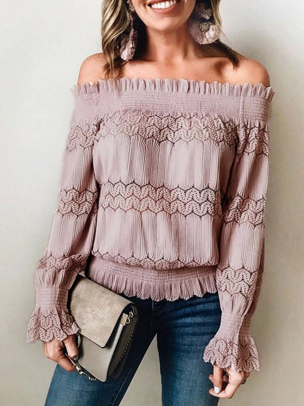 Fashion Off Shoulder Lace Long Sleeve Blouse
