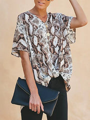 Fashion V Neck Leopard Print Short Sleeve Irregular Shirt