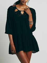 Lace Splicing Flounce Hem See-Through Cover-ups
