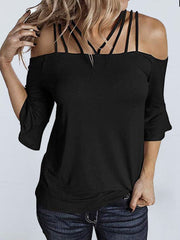 Off Shoulder Solid Color T-shirt