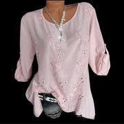 Round Neck Embroidered Pullover Long Sleeve Blouse