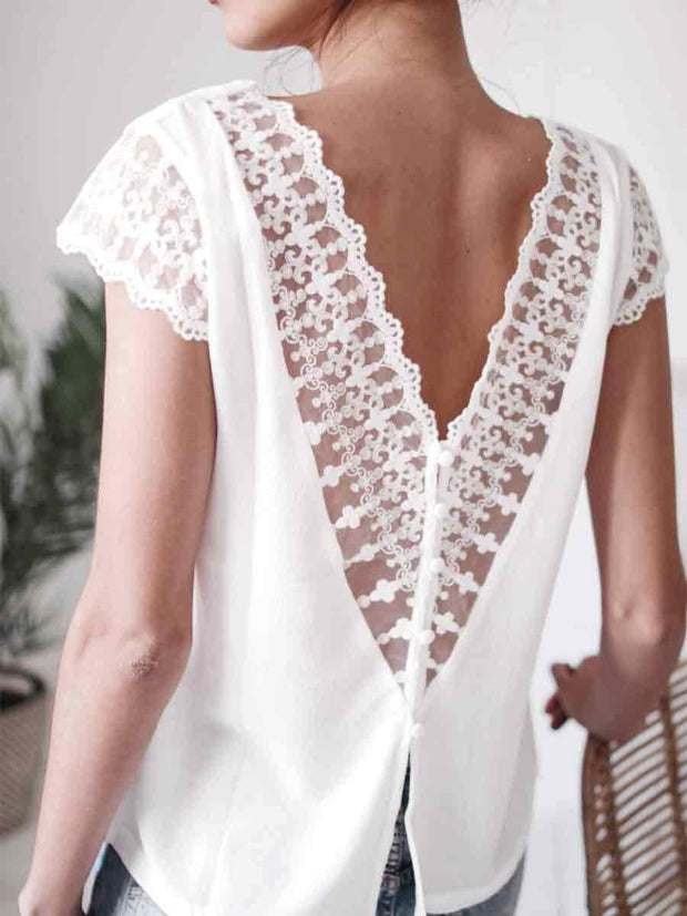 V-neck Simple Cut-out Lace Chiffon Patchwork Shirt