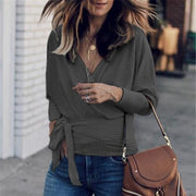 Fashion Lace-up V-neck Long Sleeve Sweatshirt