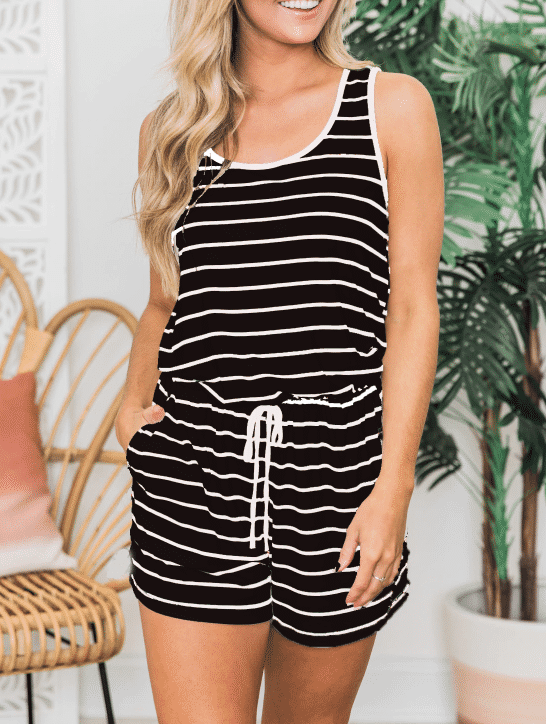 Knit Striped Jumpsuit