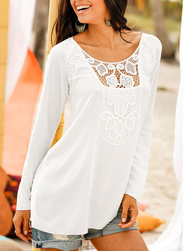 Lace Splicing Long Sleeves T-shirt