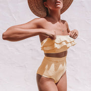 High waist swimwear with ruffles and stripes