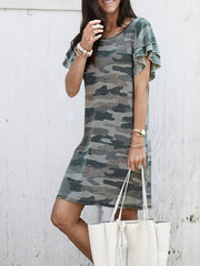 Round Neck Short Sleeves Camo Dress