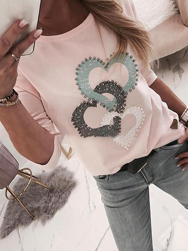 Casual Round Neck Long Sleeve Love Bubble Print T-shirt