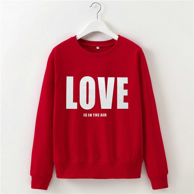 Valentine's Day Love Printed Round Neck Long Sleeves Sweatshirt