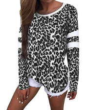 Striped Splicing Leopard T-shirt