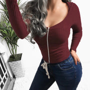 Solid Color V Neck Stretch Long Sleeve Shirt Blouse